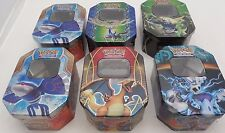Set of Six Pokemon Card Tin Holders Boxes Card Storage Collection Hoen Kalos
