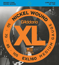 D'ADDARIO EXL160 NICKEL  WOUND BASS STRINGS, MEDIUM GAUGE 4's -  50-105