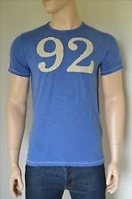 NEW Abercrombie & Fitch Distressed Number Logo Graphic Tee #92 Blue T-Shirt M