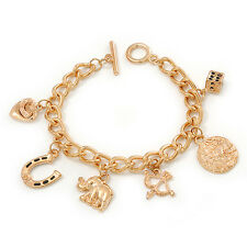 Gold Plated Charm On Chunky Oval Link Chain Bracelet With T-Bar Closure - 19cm L