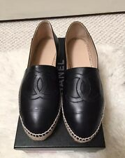 BNIB Chanel Black CC Leather Espadrilles Flat Shoes Size 38