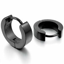 MENDINO Men's 316L Stainless Steel Stud Earrings Hoop Huggie Charm Elegant Black