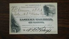 Antique Railroad Pass 1882 Eastern Railroad and Branches MA ME NH PA