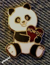 1980's Panda Bear Pin Badge~Howdy~Heart~by B.J.Sales~Calgary, Alberta~Canada