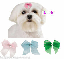"4 pc Pet  DOG ""FRESH"" Grooming HAIR BARRETTE RIBBON Bow w/Metal SPRING CLIP"
