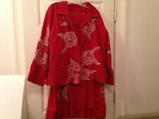 Linen Embroidered 2X Suit Set Lagenlook Outfit Floral Jacket Coat Skirt    Q4