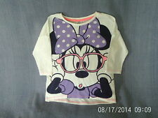 Girls 6-7 Years - White 3/4 Sleeve Top with Disney's Minnie Mouse Motif