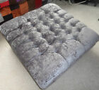 Large crushed Chenille Square Footstool/Coffee Table