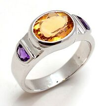 Solid 925 Sterling Silver Natural Gem Stone Citrine & Amethyst Men's Ring Size 8