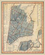 Mappa ANTICA 1846 Tanner NEW YORK CITY piano grandi REPLICA poster stampa pam1698