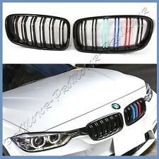 For BMW 12-16 F30 328i 335i Shiny Black M Type 3 Color Dual Ribs Front Grille