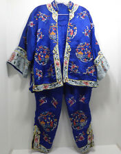 Japanese Style Kimono Pants and Blouse Set Blue with hand Embroidered Design