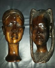 2 X AFRICAN WOOD EBONY HAND CARVED AFRICAN HEAD BUSTS PLAITS HAT HEAVY TRIBAL