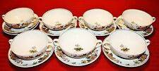 7 WEDGWOOD EASTERN FLOWERS - CREAM SOUP BOWL AND SAUCER SETS