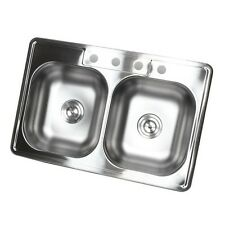 "33""x 22"" Stainless Steel Top Mount Kitchen Sink 4 Hole"