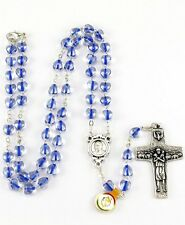 NEW MADE IN ITALY POPE FRANCIS BLUE GLASS HEART ROSARY NECKLACE VEDELE CROSS