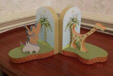 "Nursery Jungle Safari Bookends Wooden Kids Room ""YOKO ONO LENNON"" Carters 1999"