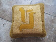 "Vintage needlepoint pillow yellow with letter ""Y"" approx 9 inches handmade"
