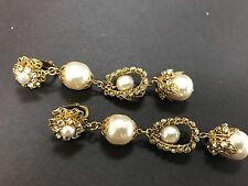 Long Sign Miriam Haskell Large  Baroque Pearls Rhinestone Earrings Jewelry
