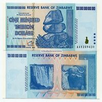 ZIMBABWE 100 TRILLION DOLLARS 2008 CURRENCY HYPER INFLATION  MONEY-P91 -UNC AA