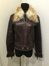 COACH WOMENS LEGACY BROWN LEATHER JACKET COYOTE FUR COLLAR SZ 4 / 6