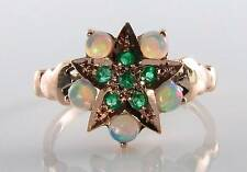 UNIQUE 9K 9CT ROSE GOLD EMERALD & OPAL ART DECO INS SUN STAR RING FREE RESIZE