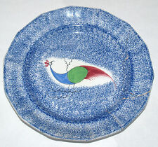 ANTIQUE PEAFOWL BLUE DECORATED SPATTERWARE PLATE ADAMS 3 COLOR BIRD - AS IS