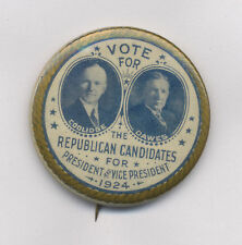 "ORIGINAL 1924 COOLIDGE  DAWES REPUBLICAN JUGATE 1.75"" POLITICAL CAMPAIGN BUTTON"