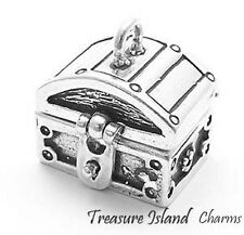 BIG HEAVY TREASURE CHEST OPENS 3D .925 Solid Sterling Silver Charm Pendant 13gr