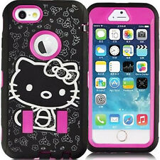 Pink & Black Hello Kitty Case for iPhone 6 Plus / 6S Plus Protector Hard Cover