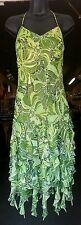 SUE WONG SZ 6 BEAUTIFUL GREEN HALTER STYLE BEADED RUFFLED 100% SILK GOWN
