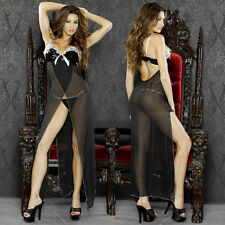 Plus Size 2X Black Long Gown with Matching G-String Lingerie F-0011XB