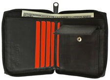 Black Mens Bifold Zip Around Secure Coin Change 100% Leather Wallet New