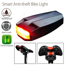 Smart Anti-theft Bike Light Wireless 3in1 COB Light Lamp Alarm USB Chargeable