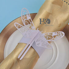 Laser Cut Lilac Paper Dragonfly Napkin Rings Place Cards Return Gifts Card 12pcs