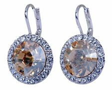 Swarovski Elements Crystal Topaz Round Halo Pierced Earrings Rhodium Plated 157a