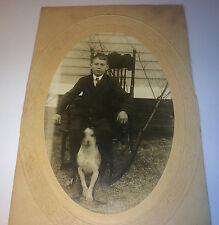 Antique Fashion Boy W/ Pet Dog, Rocking Chair! Old Outdoor Animal Cabinet Photo!