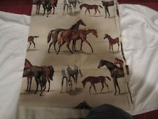 "Lot of Vintage Material - Horses - Marked All SET VAT COLORS 48"" Wide - 4 Yards"
