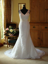 Carrafina Wedding Dress 3729 Size 12 Ivory New Couture Gown Kick Flare New Price