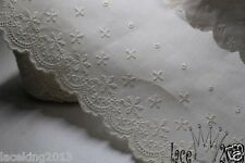 14Yds Embroidery scalloped cotton eyelet lace trim (11cm) YH1162 laceking2013