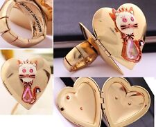R114 BETSEY JOHNSON Kitten Kitty Tabby Cat Opening Box Heart Photo Frame Ring US