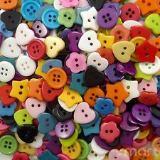 100pcs Mixed Colors Shapes Resin Buttons Lots Craft Sewing Scrapbook DIY Cards