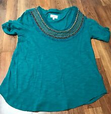 Womens ANTHROPOLOGIE Deletta Teal Green Embellished Short Sleeve Shirt Top Small
