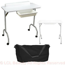 New White Portable Manicure Nail Table Station Desk Spa Beauty Salon Equipment