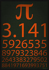Framed Print - Pi Poster 3.141 (Picture Maths Mathematics Physics Knowledge Art)