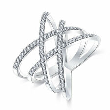 BEAUTIFUL Silver Criss Cross Ring Size 7
