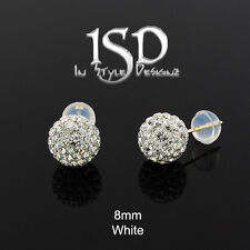 14k Gold Women's 8mm Swarovski Elements White Crystal Disco Ball Studs Earrings