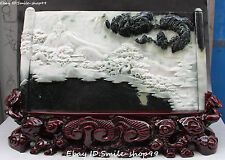 """23""""China Ancient Heroes Yue Fei Reel Book Edict Decree Mountain Water Statue"""