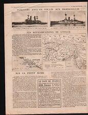 WWI  Cruiser Royal Navy Dardanelles Turkey Gallipoli Thracian 1915 ILLUSTRATION