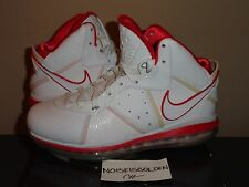 Lebron 8 White Sport Red China Men's size 9 James Nike 23